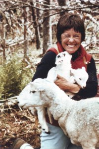 Anne Priest with first lambs